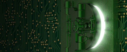 Circuit board with a bank vault door on it tht is slightly ajar